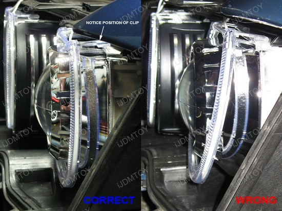 BMW E46 LED angel eyes rings installation 10