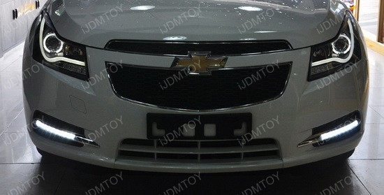 Chevy Cruze LED DRL Installation 04 chevrolet cruze direct fit led daytime running lights installation 2014 chevy cruze fog light wiring diagram at crackthecode.co