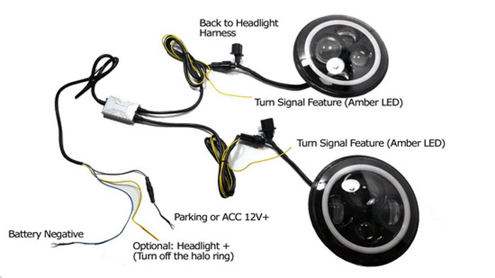 Jeep switchback LED DRL wiring how to install led headlights on jeep wrangler Wiring Harness Jeep TJ Grill at webbmarketing.co