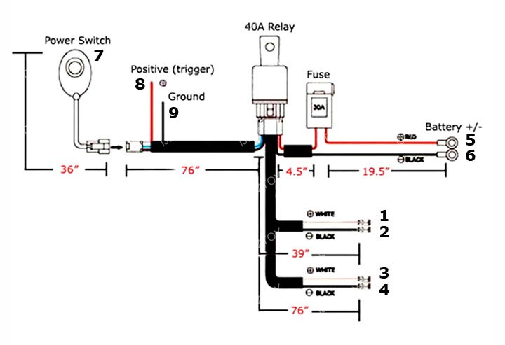 Led Light Wiring Diagram as well Elec as well Wiring Diagram For Led Tail Lights in addition 12V 40A LED Fog Light Wiring Harness Laser Rocker Switch Relay Fuse Kit P 1052257 as well Two Aa2065. on how to install led lights on a motorcycle