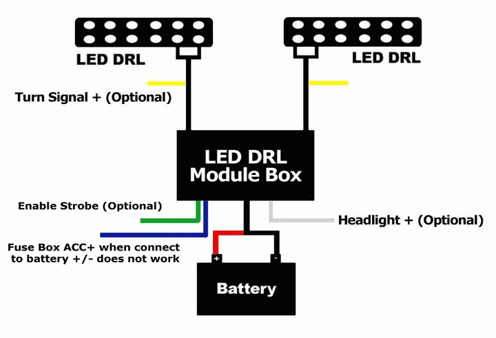 led daytime running light automatic on off relay module box rh store ijdmtoy com Simple LED Circuits 120V LED Wiring Diagram