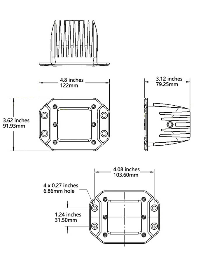 LED pod light dimensions