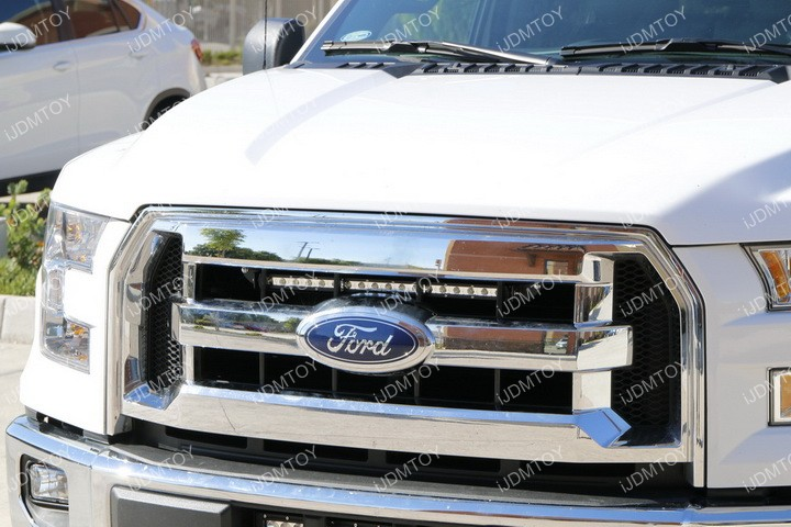Ford F150 Center Bumper Grille Light Bar Installation 17