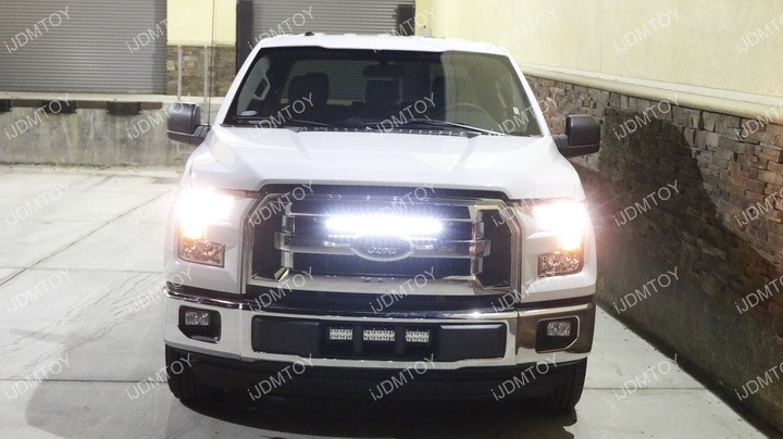 Ford F150 Center Bumper Grille Light Bar Installation 19