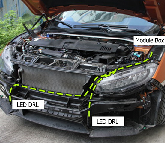 Install Honda Civic LED DRL 02