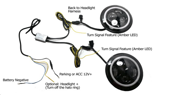 7 led halo jeep headlight wiring diagram