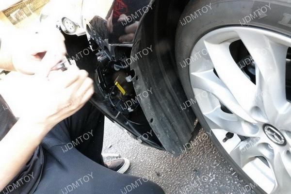 Mazda 3 switchback LED DRL Install 01