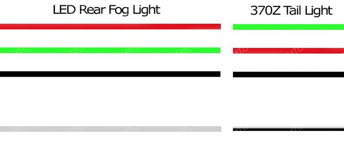 Nissan 370Z LED rear fog 26 how to install nissan 370z led rear fog lights reverse lights 2007 nissan frontier fog light wiring diagram at gsmportal.co