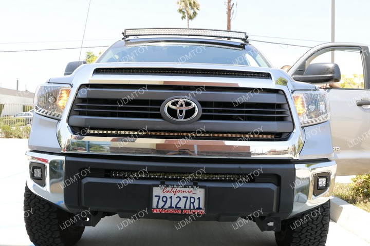 Install Toyota Tundra Behind Grille LED Light Bar 13