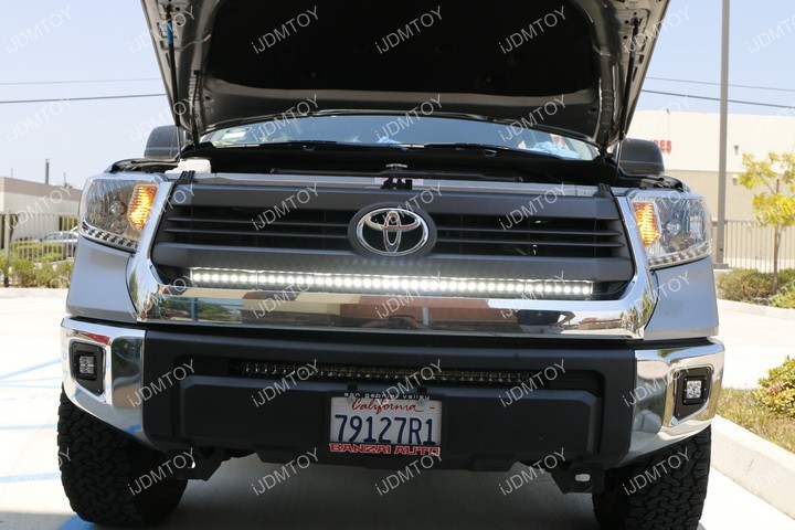 Install Toyota Tundra Behind Grille LED Light Bar 14