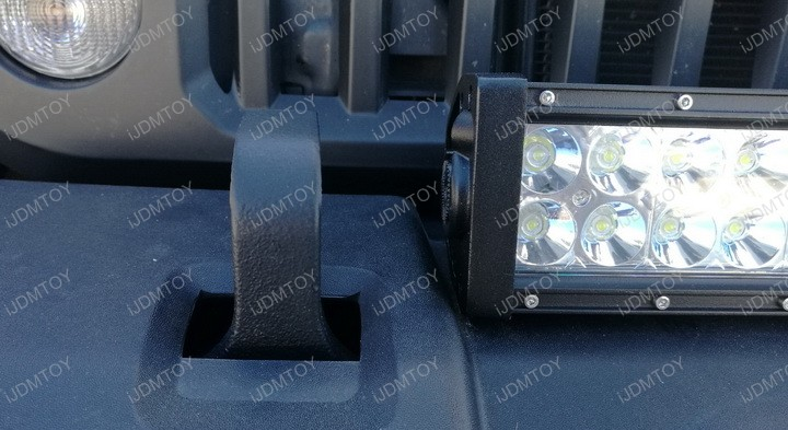 Jeep Wrangler Tow Hook Bumper Mounted LED Light Bar