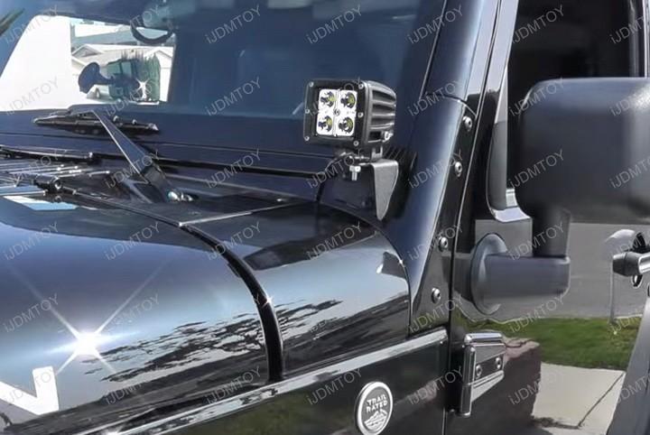 Jeep Wrangler JK CREE LED Pod Light Lamp A Pillar Mount