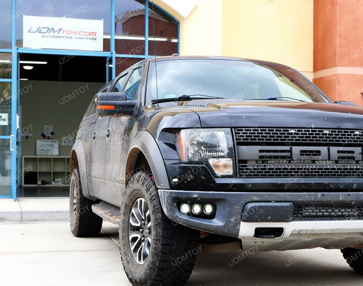 Install up to 3 10W CREE LED Pod Light Lamps onto 2010-2014 Ford F150 Raptor