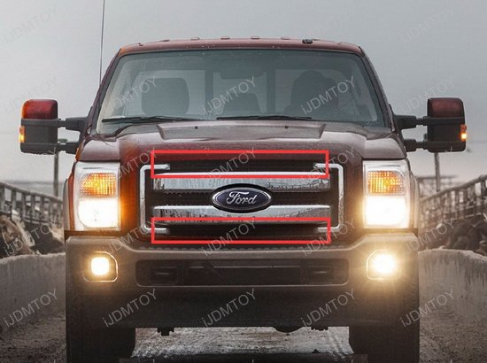 Ford F250 Behind Grille LED Light Bar