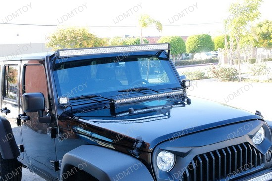 2007 2017 jeep wrangler jk 150w high power cree led light bar kit jeep wrangler hood led light bar aloadofball Choice Image