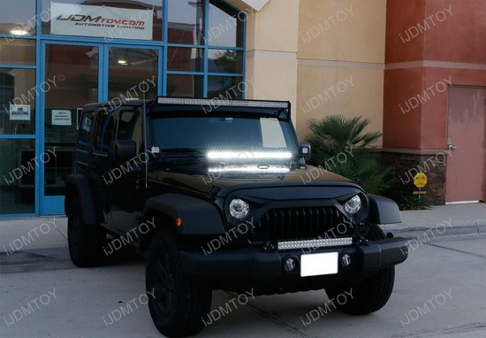 2007 2017 jeep wrangler jk 150w high power cree led light bar kit jeep wrangler hood led light bar aloadofball Images
