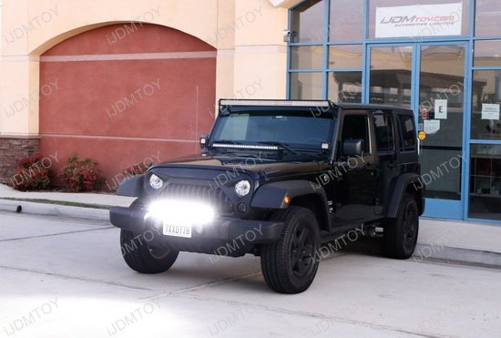 Jeep Wrangler Bumper Led Light Bar on Relay Switch With Led Light Bar