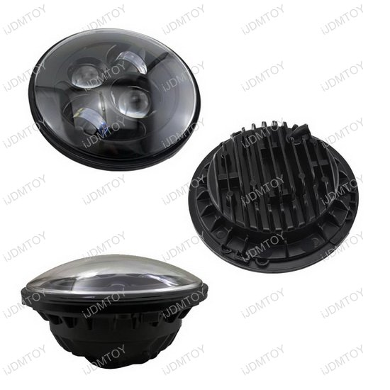 "Black Bezel 7"" Round LED Headlights"