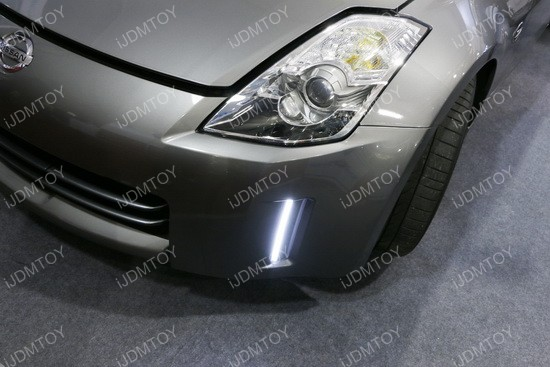 Nissan 350Z Swithcback LED DRL 18 2006 09 nissan 350z led daytime running lights led bumper reflectors  at reclaimingppi.co