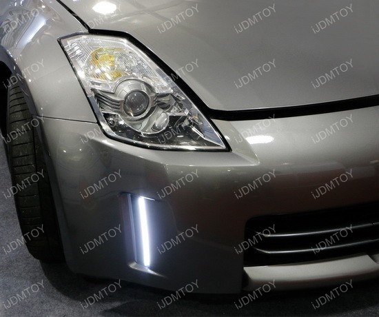Nissan 350Z Swithcback LED DRL 20 2006 09 nissan 350z led daytime running lights led bumper reflectors  at reclaimingppi.co