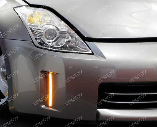 Nissan 350Z Swithcback LED DRL 21 2006 09 nissan 350z led daytime running lights led bumper reflectors  at reclaimingppi.co