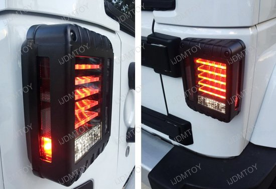 Jeep Wrangler Blacked Out J-Style Full LED Tail Lights