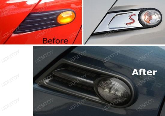 Amber 3 Led Black Smoked Lens Side Marker Lights Lamps Fit