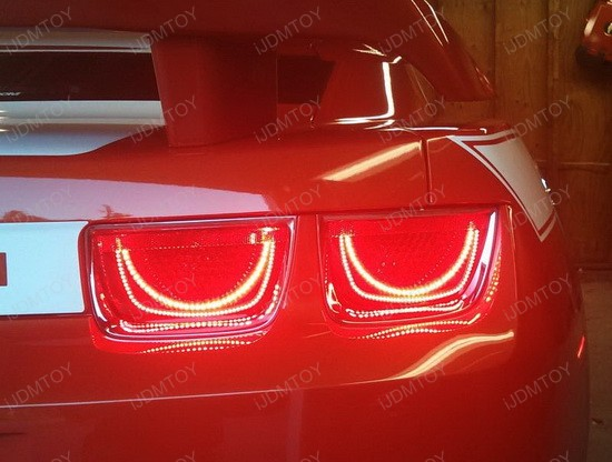 iJDMTOY Chevy Camaro LED Afterburner Taillamp Halo Rings