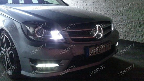 Xenon white led illuminated base only for mercedes front for Mercedes benz led star