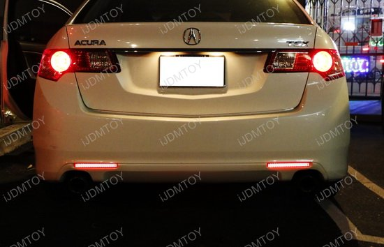 Acura TSX LED Bumper Reflector Rear Fog Light Kit - Acura tsx bumper
