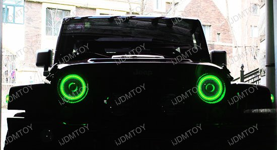 "Jeep 7"" Headlamp RGB LED Angel Eyes LED Halo Rings"