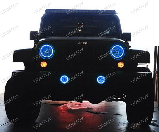 Jeep Wrangler Headlamp Fog Lamps RGB LED Angel Eyes LED Halo Rings