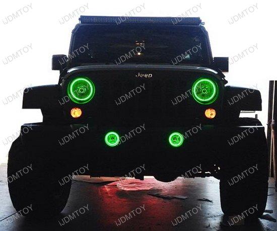 Jeep Wrangler Headlamp Fog Lamps RGB LED Angel Eyes LED Halo Rings