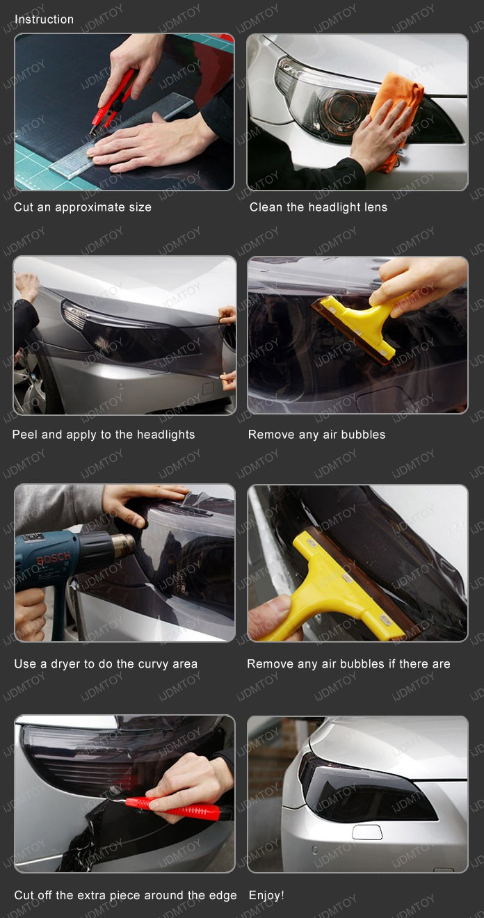 How To Apply Smoke Black Out Tint Film For Headlights And