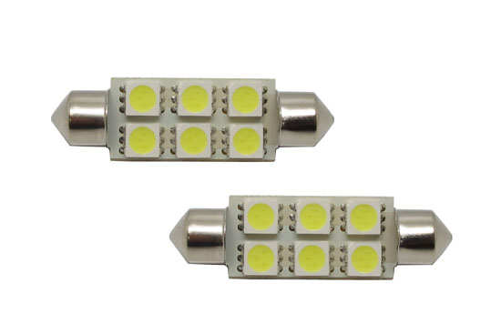 """6-SMD 5050 1.72"""" 42mm 211-2 578 LED Bulbs"""