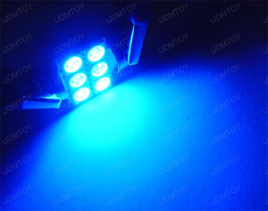 JDM Super Bright Xenon White, Ultra Blue or Brilliant Red 6-SMD D31mm Festoon Map Dome LED bulbs for DE3175 DE3022 3175
