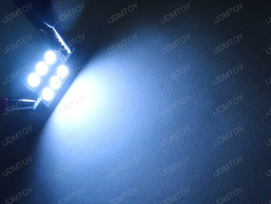 JDM Super Bright Xenon White or Ultra Blue 6-SMD D36mm Festoon Map Dome LED bulbs for 6411 6413 6418
