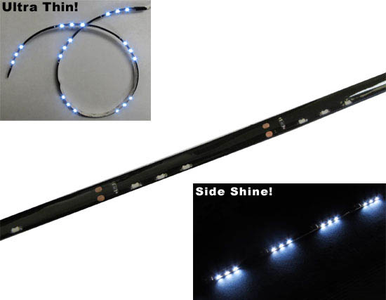 JDM Audi A5 Q5 R8 Style Xenon White Side Shine 20&quot; SMD Flexible LED Strip Lights For Headlight Lamps (3 LEDs groups in an array)