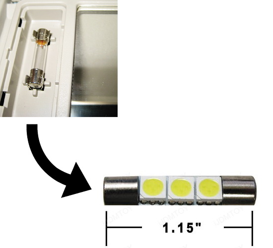 4pk white 3 smd 29mm 6641 led bulbs fit car vanity mirror lights sun visor lamp ebay. Black Bedroom Furniture Sets. Home Design Ideas