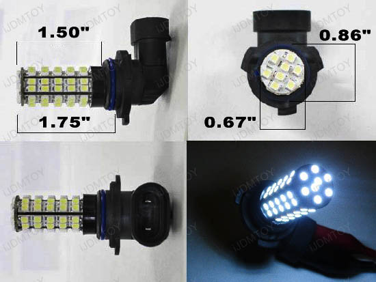 Xenon White 68-SMD 360-degree shine 9005 (aka HB3 or 9145) Hyper-Flux LED Bulbs For Fog Lights or Daytime Running Lights