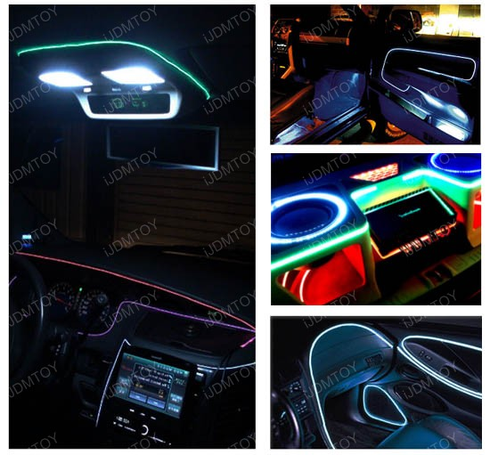 Ijdmtoy Ultra Blue El Neon Flexible Strip Lights For Car