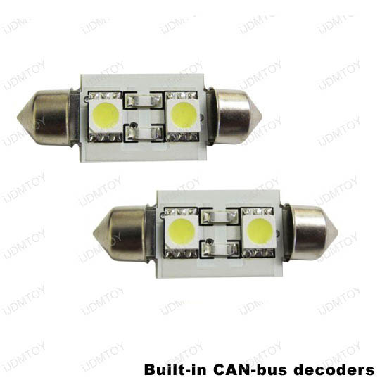 JDM Xenon White OBC Error Free D36mm 6411 6418 C6W LED Bulbs w/built-in load resistors for Audi, BMW, Mercedes, Porsche, Volkswagen, etc
