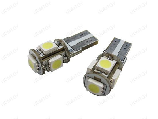5-SMD Error Free 2825 W5W LED BULBS