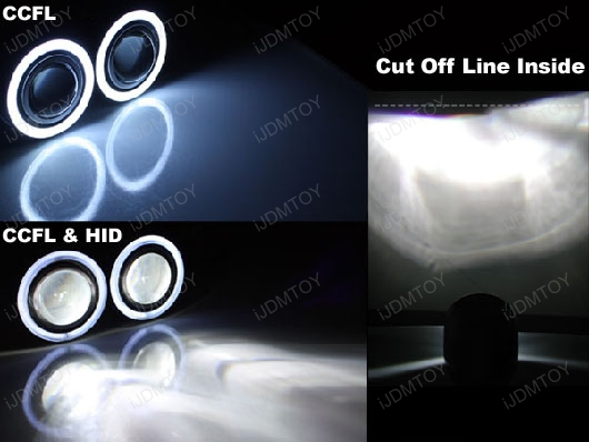 Glass Projector Lamps CCFL Angel Eye Halo Rings H3 HID
