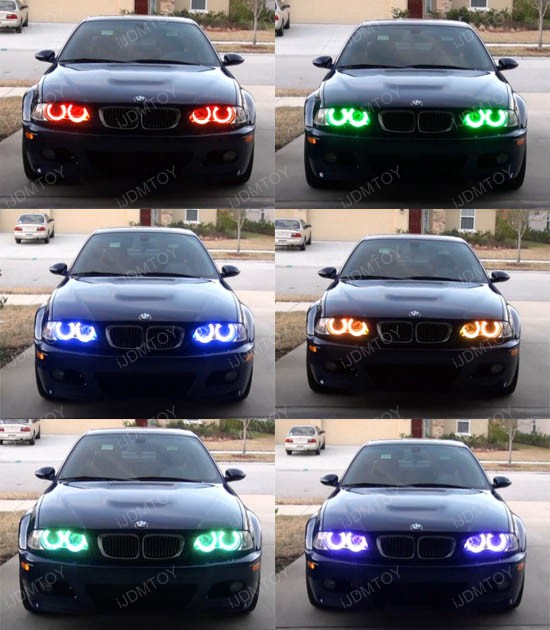 bmw 7 colors rgb led angel eye halo rings for bmw e39 e46. Black Bedroom Furniture Sets. Home Design Ideas
