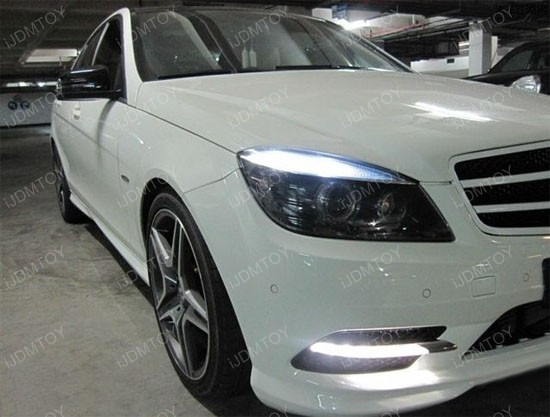 Oem style mercedes w204 c300 c350 led daytime running lights for Led light for mercedes benz