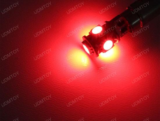 JDM 360-Degree Shine 5-SMD 5050 T10 LED Wedge Light Bulbs for 168 194 921 2825