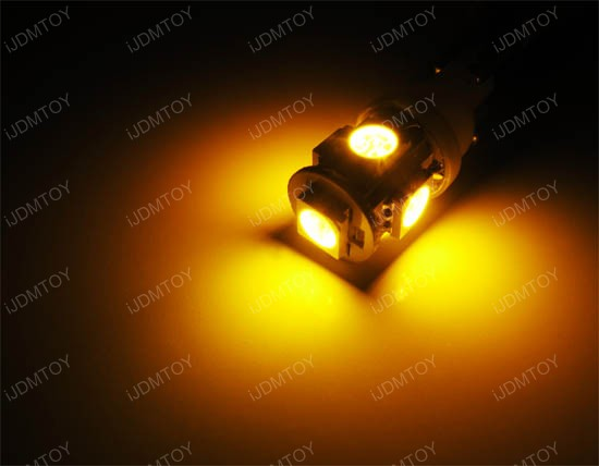 Amber 5-SMD 2825 168 T10 LED bulbs