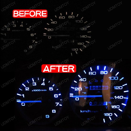 JDM Super Bright & Wide Angle T5 (aka T4) 1210 chip SMD LED Wedge Light Bulbs Instrument Cluster, Dash Lights 37 73 74 79 etc