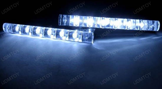 JDM Universal Fit Xenon White or Ultra Blue 6-LED Daytime Running Light Kit (aka LED Day Driving Cruising DRL Lamps)